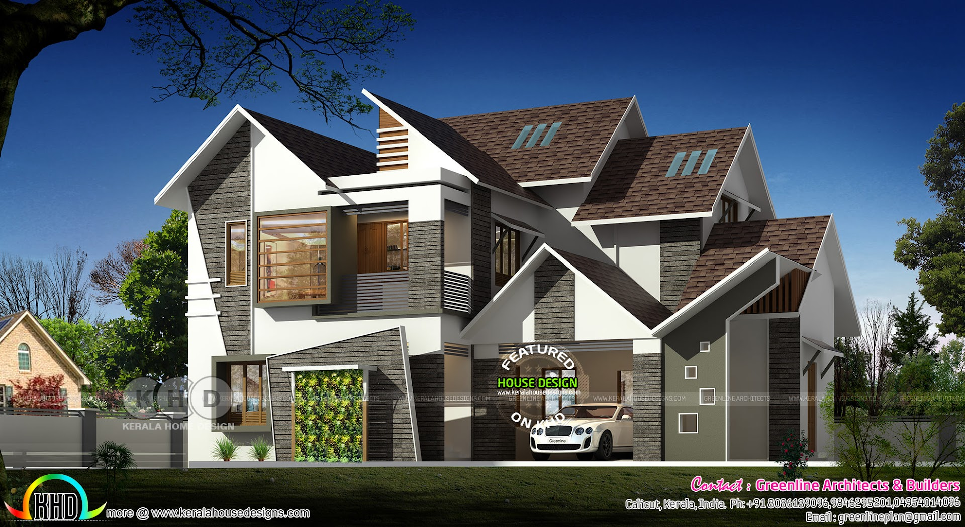 3333 Square Feet Modern Sloping Roof House Kerala Home
