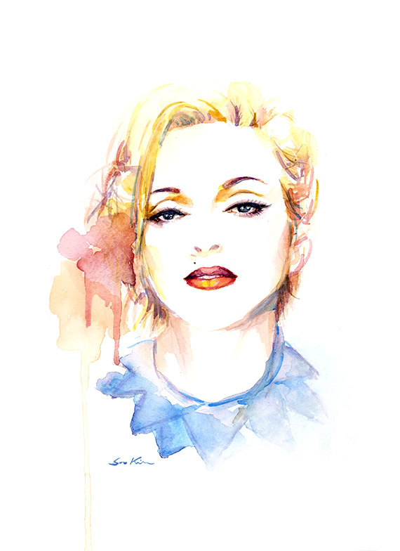 10-Madonna-Pop-Icon-Soo-Kim-Celebrity-Watercolor-Portraits-www-designstack-co