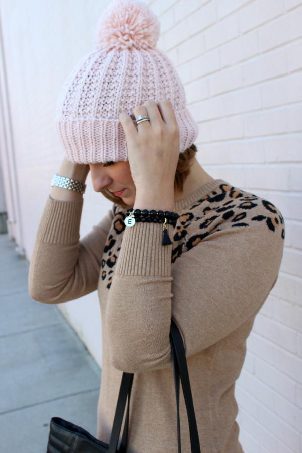 pom pom beanie, mom style, leopard sweater