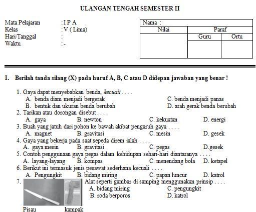 Download Contoh Soal SD/MI Kelas V Mata Pelajaran IPA/SAINS Format Microsoft Word