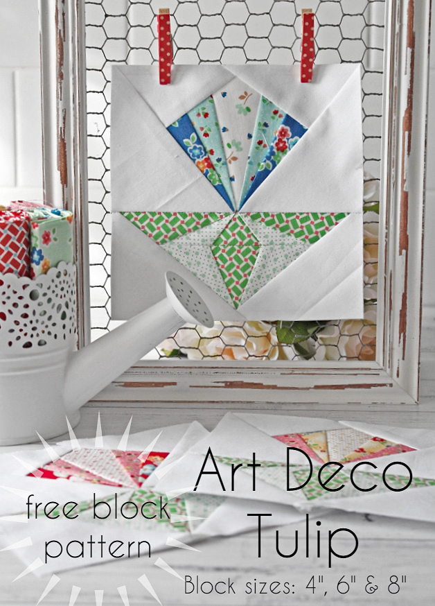 Art Deco Tulip Free Block Pattern Threadbare Creations