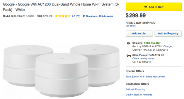 Update: Down to just singles] Google Wifi single and 3-packs