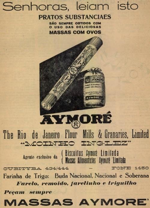 Propaganda dos anos 30 das Massas Aymoré com foco nas donas de casa