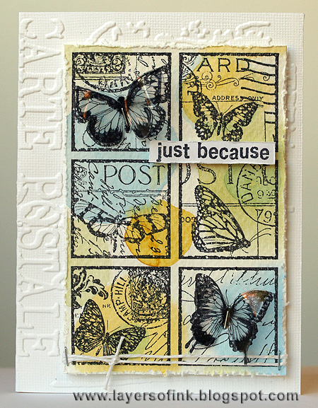 Butterfly Post Collage stamp - Layers of ink