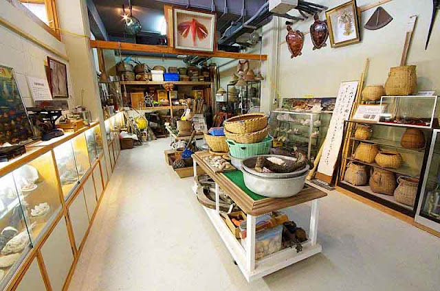 tools and equipment depict Okinawa fishing through the ages