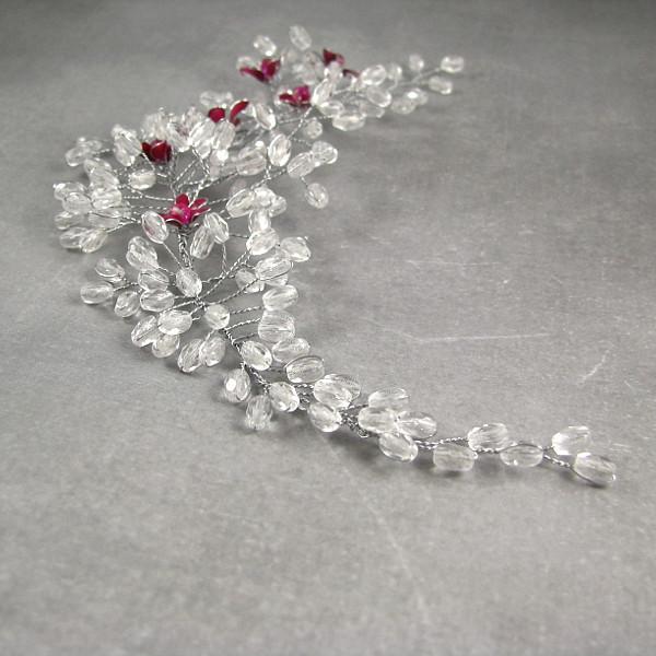 Fascynator ślubny - gałązka kwitnącej wiśni