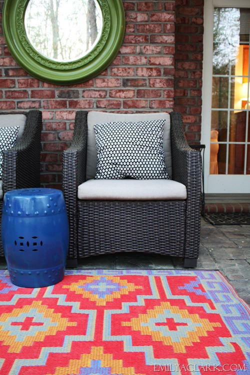 mirror outside, graphic outdoor rug, garden stool, outdoor space, patio