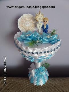 Pamiątka Pierwszej Komunii Świętej, dla chłopca, biel, niebieski,