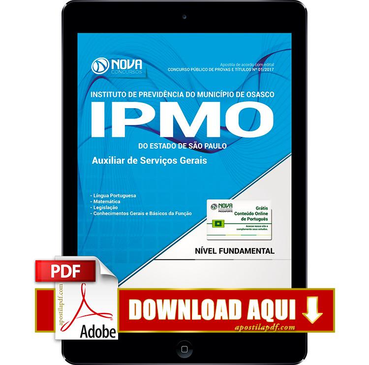 Apostila IPMO SP 2017 PDF Download Auxiliar de Serviços Gerais