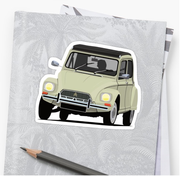 Classic cars - Citroen Dyane - car stickers - beige