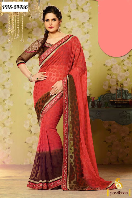 brown jacquard Zarine Khan in bollywood saree online shopping with discount offer sale at pavitraa.in