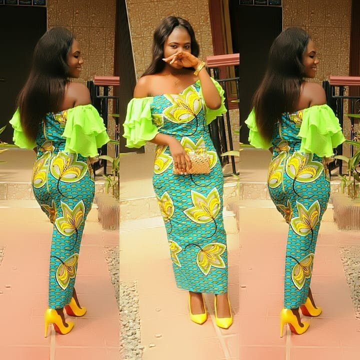 Offshoulder Ankara Long Gown Styles 2018 For Nigerian