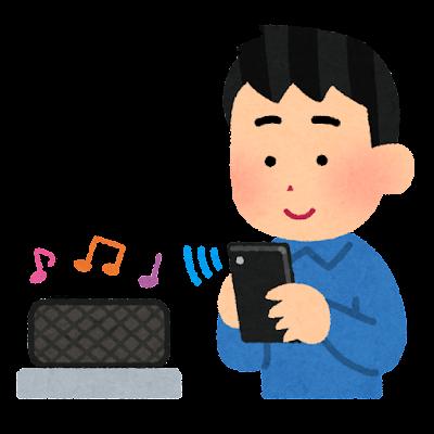 無線スピーカーで音楽を聴く人のイラスト(男性)