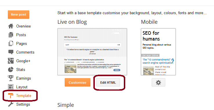 HTML edit option in Blogger template