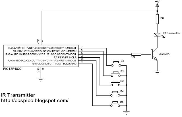 NEC IR remote control transmitter circuit PIC12F1822