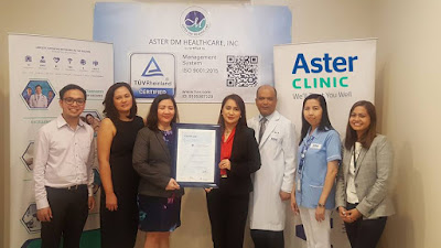 Aster Clinic is first outpatient clinic in the Philippines awarded with an ISO 9001:2015