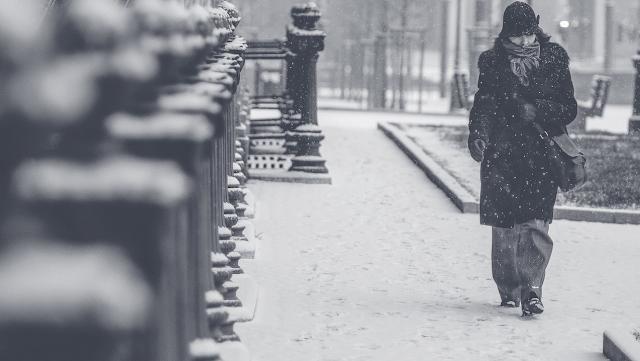 Метель, одинокая женщина