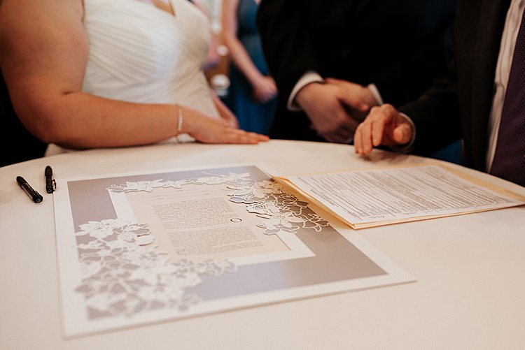 Handmade papercut ketubah for Jewish weddings by Woodland Papercuts.Seen in this elegant Jewish wedding. The Signing Ceremony is when the wedding vows are read and signed in front of witnesses to cement the marriage pledge. Photo by Vivienne Tyler Photography.