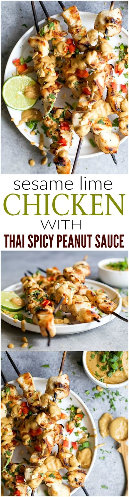 Sesame Lime Chicken Kebabs with a Spicy Peanut Sauce