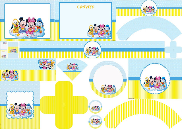 Kit de Bebés Disney en Celeste y Amarillo para Imprimir Gratis.
