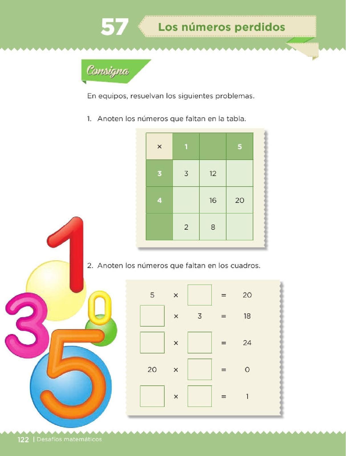 Apoyo Primaria Desafíos matemáticos 3ro Grado Bloque IV Lección 57