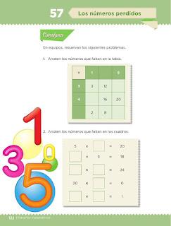 Apoyo Primaria Desafíos matemáticos 3ro Grado Bloque IV Lección 57 Los números perdidos