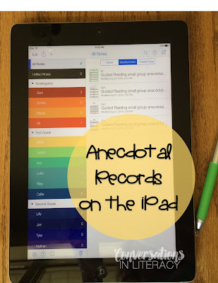 use an iPad to keep anecdotal records with Notability app
