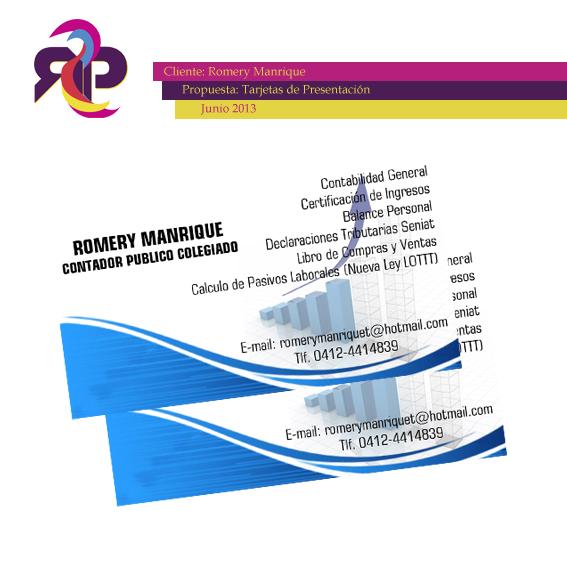 Tarjetas De Presentaci 243 N Romery Manrique Contador Publico