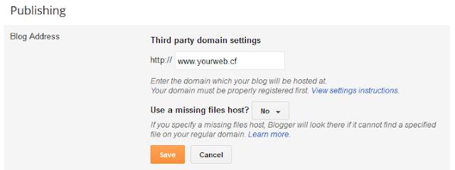 Setup .ga, .tk, .cf, .ml, .gq domain Blogger blogspot