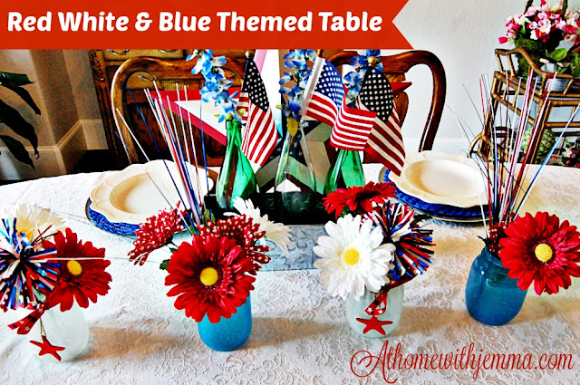 DIY, Daisy, blue, white, vignette, table, decorating, festive 4th of July