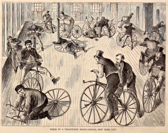 Cartoon of Velocipede Cycling Class, NYC 1869