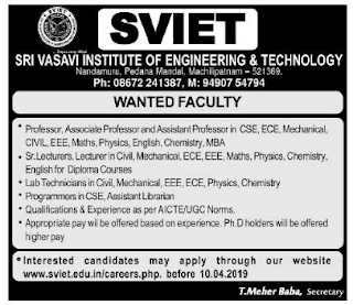 Sri Vasavi Institute of Engineering and Technology, Krishna, Notification 2019 Assistant Professor /  Lecturers Jobs
