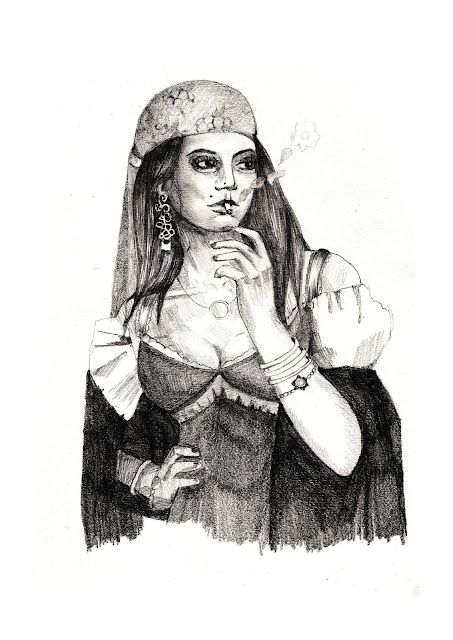 gypsy woman illustration, gypsy drawing, gypsy sketch, fortuneteller sketch, pencil illustration, pencil illustrator uk, portrait illustrator, cards illustration, freelance illustrator, freelance illustrator UK, anastasiya levashova,