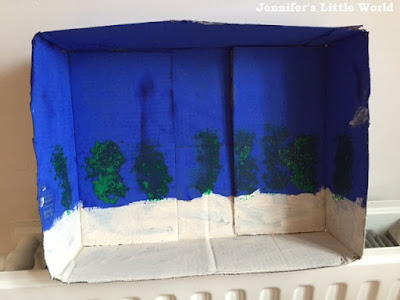 Cardboard box aquarium craft for children