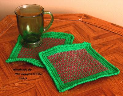 Red and Green Tweed Potholder or Hot Pad Set of 2 - Handmade Afghan Crochet Tweed By Ruth Sandra Sperling at RSS Designs In Fiber