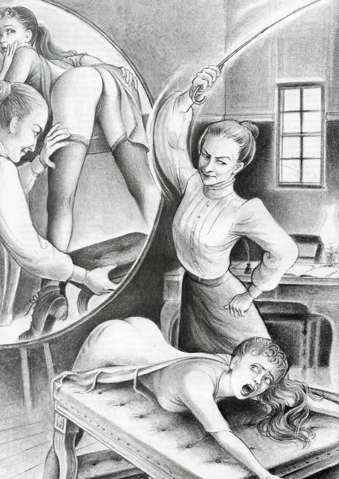 Женщина под розгой ретро рисунки