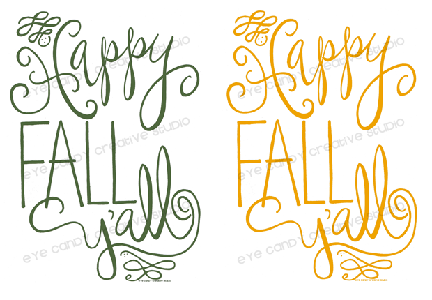 happy fall y'all various colored prints, green fall art print, mustard fall print