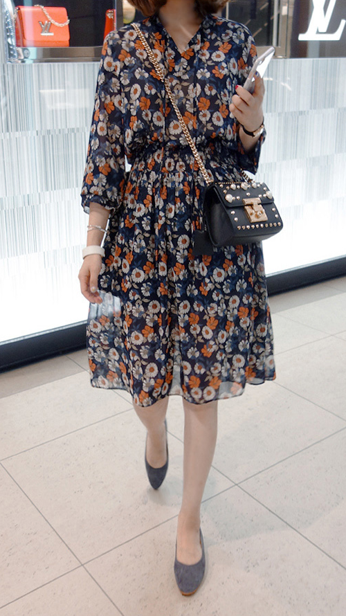 Floral Tie-Neck Dress