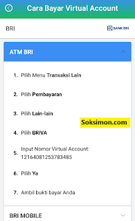 Cara bayar virtual account di ATM BRI