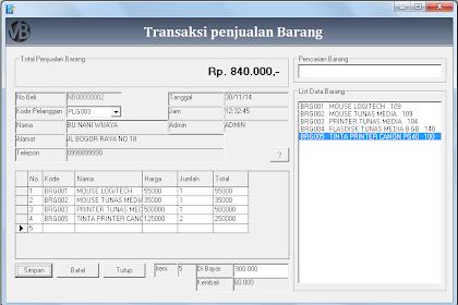 Tutorial Membuat Form Transaksi Penjualan Program Penjualan VB 6.0 - Part12