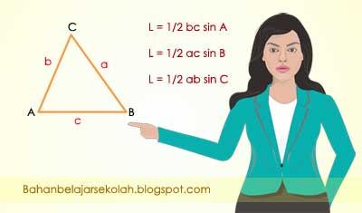 Luas segitiga sanggup dengan gampang ditentukan apabila panjang bantalan dan tingginya diketahui LUAS SEGITIGA JIKA DIKETAHUI DUA SISI SATU SUDUT