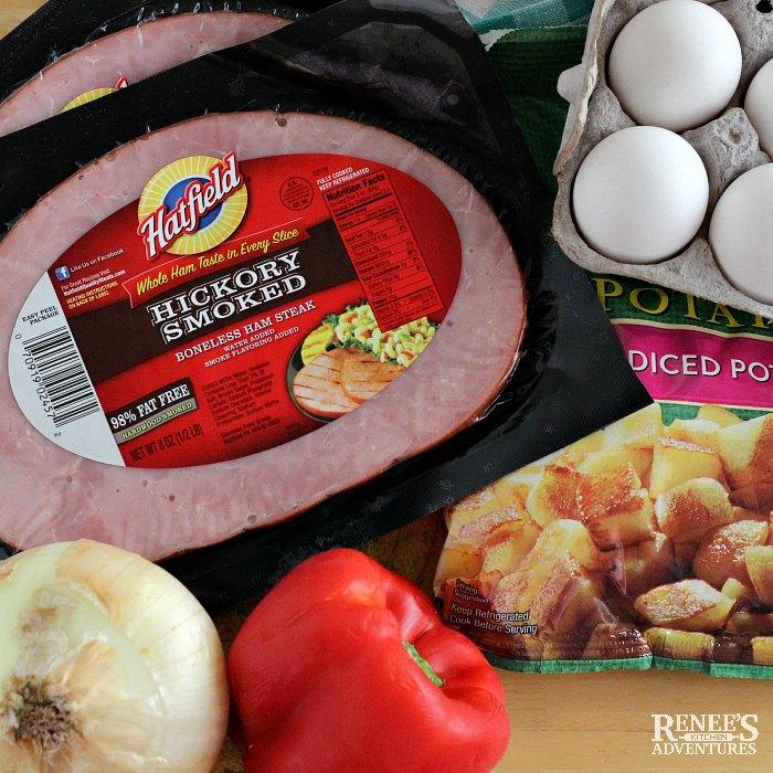 Ingredients needed to make Ham Hash by Renee's Kitchen Adventures