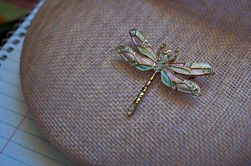 Dragonfly brooch with pink and blue-green