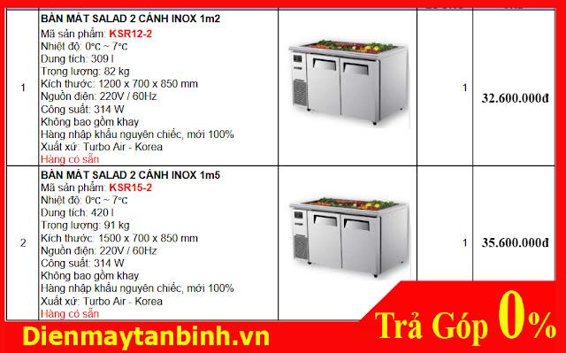 Giá bán tủ bàn inox Salad Turbo Air KSR12-2 và Turbo Air KSR15-2 nhập khẩu Hàn Quốc