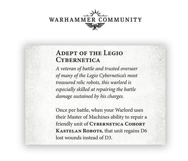 Rasgo Señor de laGuerra Cybernetica Cohort