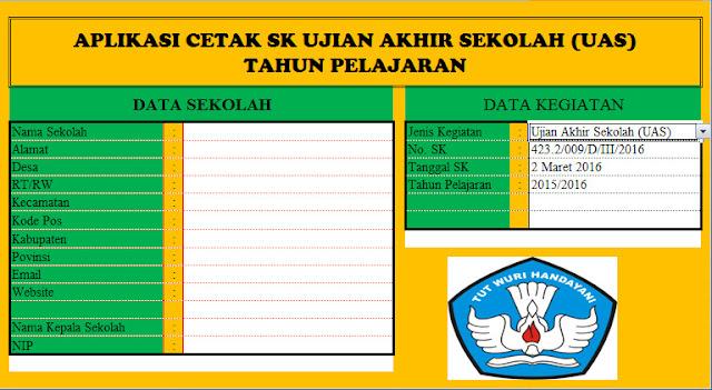 Aplikasi Cetak SK Kegiatan UTS TO UAS US Format Microsoft Excel