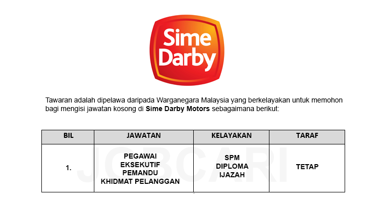 Jawatan Kosong di Sime Darby Motors / Pelbagai Jawatan