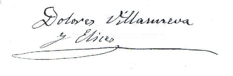 Firma de Dolores Villanueva y Elices