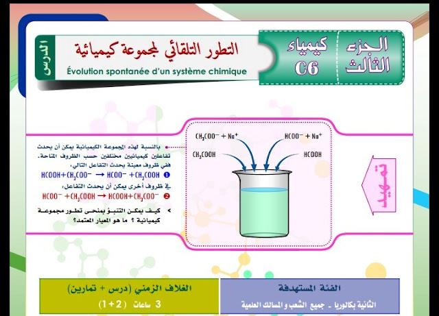 كيمياء الثانية بكالوريا : التطور التلقائي لمجموعة كيميائية - انشطة + تمرين تطبيقي
