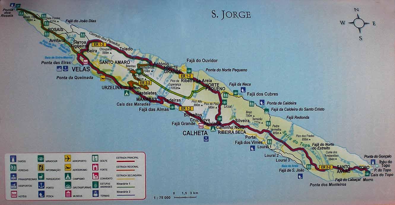 mapa de s jorge açores São Jorge Açores: Trilhos Pedestres mapa de s jorge açores